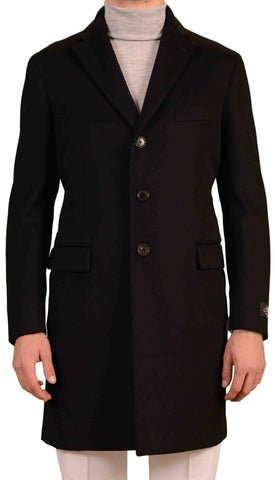 BELVEST Hand Made In Italy Black Wool Cashmere Belted Coat EU 56 NEW US 46 Slim