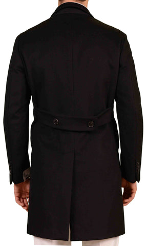 BELVEST Hand Made In Italy Black Wool Cashmere Belted Coat NEW Slim