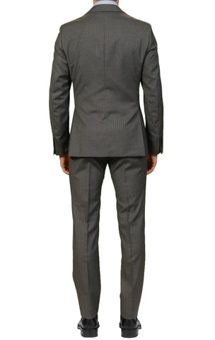 BELVEST Hand Made Gray Pinstriped Super 100's Wool Suit EU 56 NEW US 46