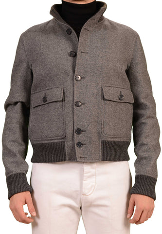 BELVEST Hand Made In Italy Gray Twill Wool Flight Bomber Jacket NEW Slim