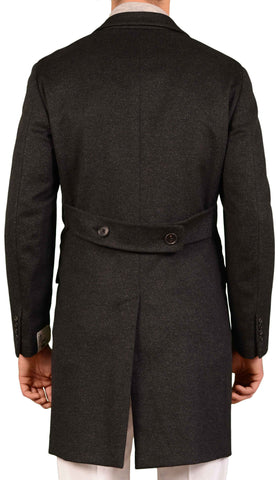 BELVEST Hand Made In Italy Dark Gray Wool Cashmere Belted Coat NEW Slim