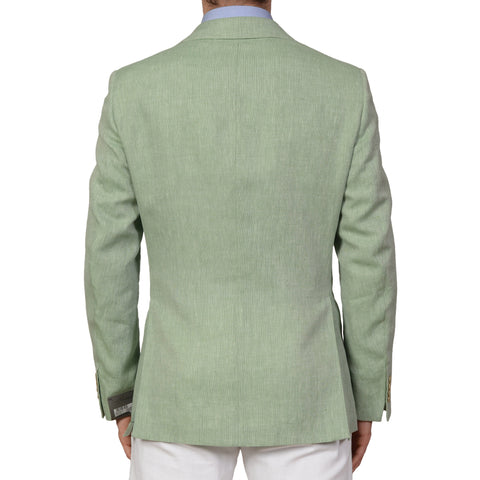 BELVEST Made In Italy Hand Made Green Cotton-Linen Blazer Jacket NEW