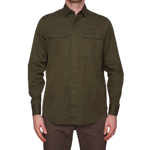BERLUTI Army Green Cotton-Cashmere Casual Shirt R40 US 15.75 Size M