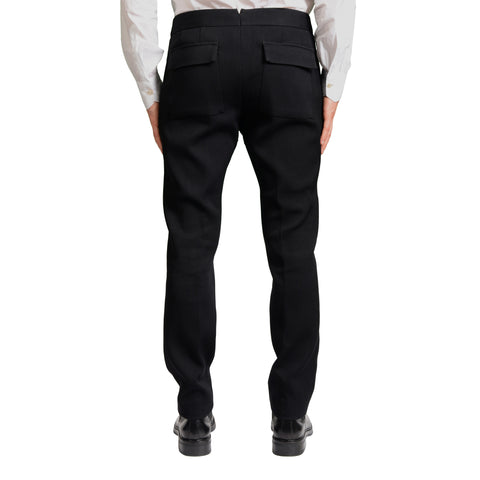 BERLUTI Black Wool Flat Front Slim Fit Tapered Pants EU 50 US 34