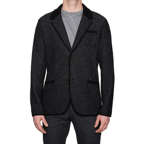 BERLUTI Paris Black Knitted Wool Cardigan Blazer Sweater EU 50 NEW US M