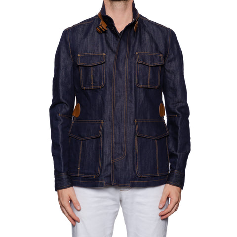 BERLUTI Paris 4 Pocket Denim Safari Field Jacket with Leather Details R 50 NEW M