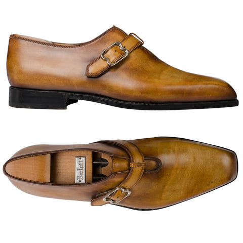 BERLUTI Hand Made Tan Leather Single Monk Wholecut Shoes 10 US 10.5 with Trees