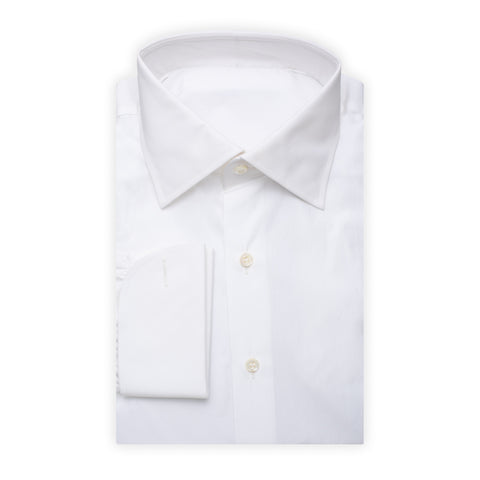BESPOKE ATHENS Handmade White Cotton French Cuff Dress Shirt EU 43 NEW US 17