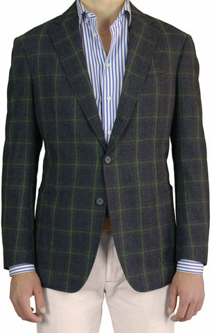 BESPOKE ATHENS Gray Windowpane Wool-Cotton Blazer Jacket EU 52 NEW US 40 Slim - SARTORIALE
