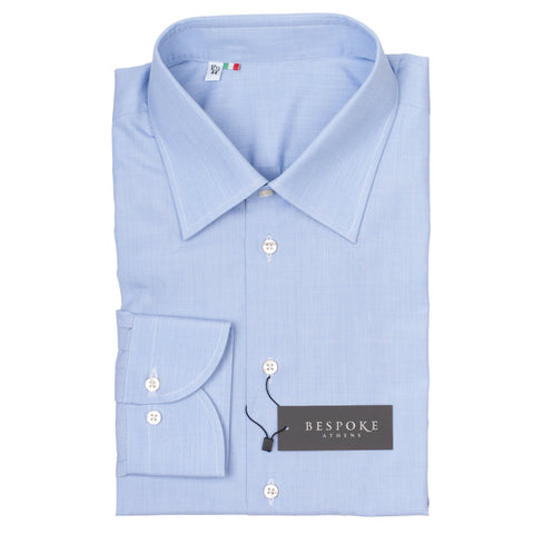 BESPOKE ATHENS Handmade Blue Cotton Dress Shirt US 17.5 NEW EU 44