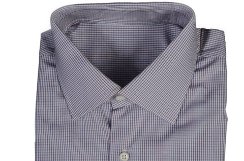BESPOKE ATHENS Handmade White-Blue-Red Plaid Cotton Dress Shirt US 16 NEW EU 41