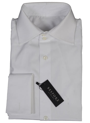 BESPOKE ATHENS Handmade White Cotton French Cuff Dress Shirt US 16 NEW EU 41