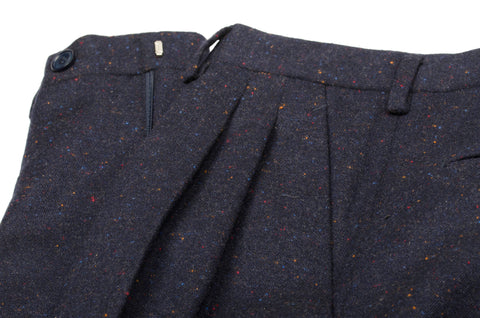 BIJAN Beverly Hills Blue Cashmere Donegal DP Pants EU 44 NEW US 28 Classic Fit