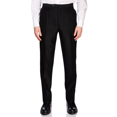 BIJAN Beverly Hills Handmade Black Wool-Silk DP Tuxedo Dress Pants 50 NEW US 34