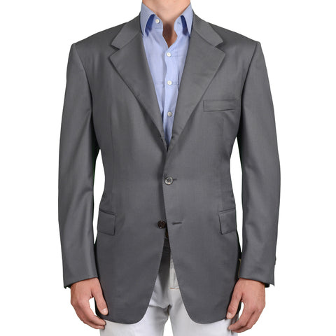 BIJAN Beverly Hills Handmade Gray Wool Super 150's Blazer Jacket EU 56 NEW US 46
