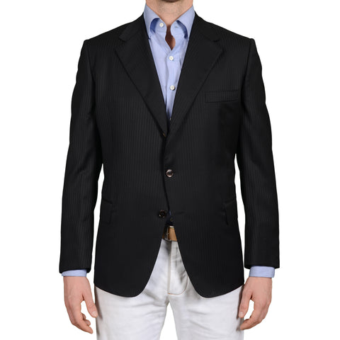 BIJAN Beverly Hills Luxury Handmade Black Striped Wool Jacket EU 50 NEW US 40