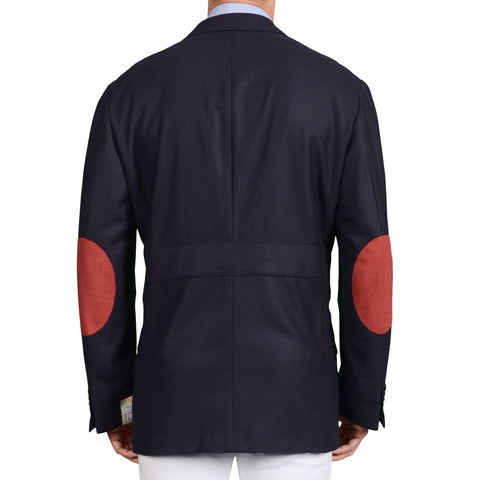 BIJAN Beverly Hills Navy Blue Pure Cashmere Jacket with Elbow Patch 56 NEW US 46