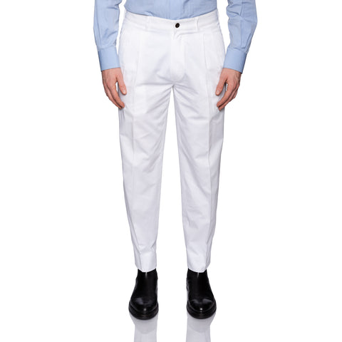 BIJAN Beverly Hills White Cotton Twill DP Pants EU 48 NEW US 32 Classic Fit