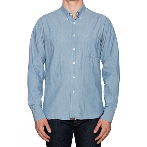 BILLY REID Solid Blue Cotton Button-Down Casual Shirt US L Standard Cut