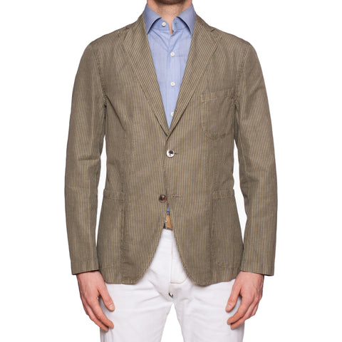 "BOGLIOLI ""68"" Khaki Striped Cotton-Linen-Mohair Unconstructed Jacket 50 NEW 40"
