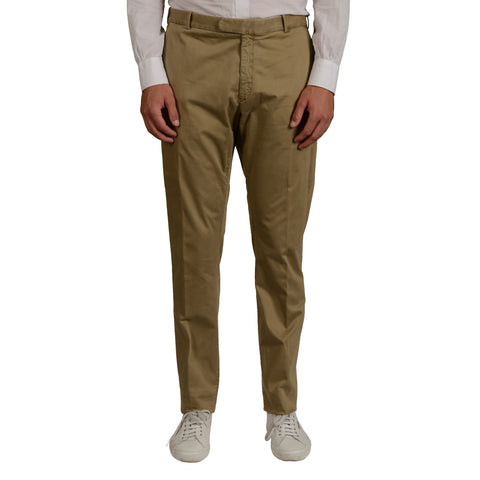 BOGLIOLI Milano Khaki Cotton Flat Front Slim Fit Pants NEW