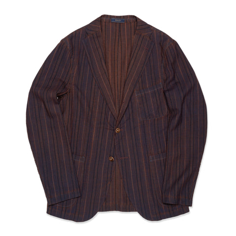 BOGLIOLI Galleria Bluish Brown Striped Wool-Silk Unconstructed Jacket 48 NEW 38