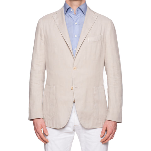 "BOGLIOLI Milano ""K. Jacket"" Beige Herringbone Cotton-Linen Unlined Jacket 52 NEW 42"