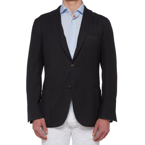 "BOGLIOLI Milano ""K. Jacket"" Black Herringbone Wool Unlined Jacket NEW"