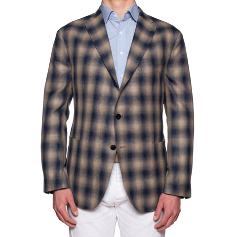 "BOGLIOLI Milano ""K. Jacket"" Blue-Beige Plaid Cotton-Wool-Silk Jacket 60 NEW 50"