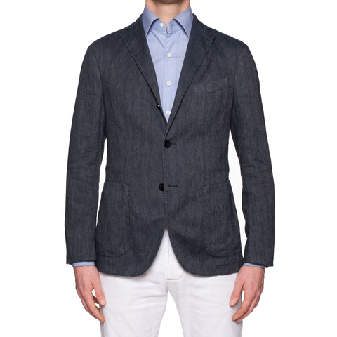 "BOGLIOLI Milano ""K. Jacket"" Blue Herringbone Cotton-Linen Unlined Jacket NEW"