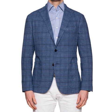 "BOGLIOLI Milano ""K. Jacket"" Blue Plaid Cotton-Linen Unlined Jacket 50 NEW US 40"