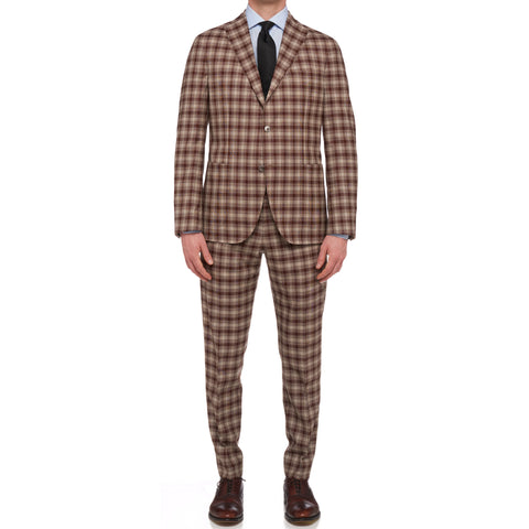 "BOGLIOLI Milano ""K. Jacket"" Brown Plaid Wool Unlined Suit EU 50 NEW US 40"