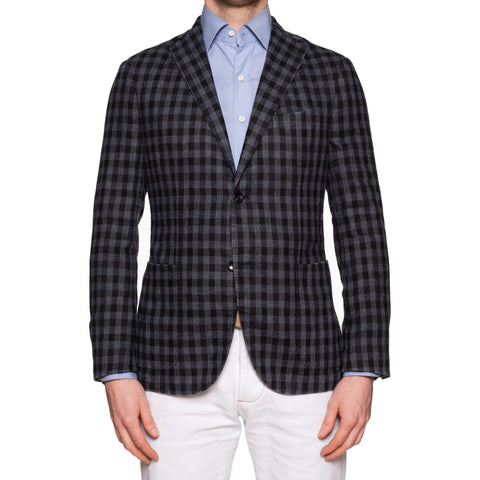 "BOGLIOLI Milano ""K. Jacket"" Gray Checked Wool Jacket Sport Coat EU 50 NEW US 40"