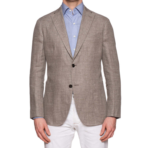 "BOGLIOLI Milano ""K. Jacket"" Gray Hopsack Wool-Linen Unlined Jacket 52 NEW US 42"