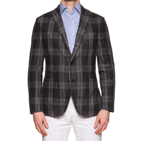 "BOGLIOLI Milano ""K. Jacket"" Gray Plaid Wool-Cashmere Unlined Jacket 50 NEW US 40"