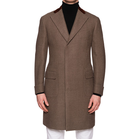 "BOGLIOLI Milano ""K. Jacket"" Taupe Gray Wool Covet Coat Overcoat EU 48 NEW US S"