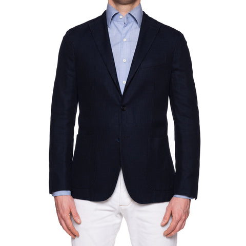 "BOGLIOLI Milano ""K. Jacket"" Navy Blue Cotton Knitted Unlined Jacket 48 NEW US 38"
