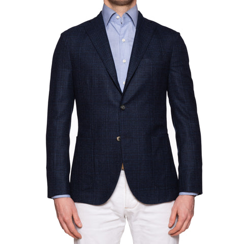 "BOGLIOLI Milano ""K. Jacket"" Navy Blue Plaid Wool Jacket Sport Coat EU 48 NEW US 38"