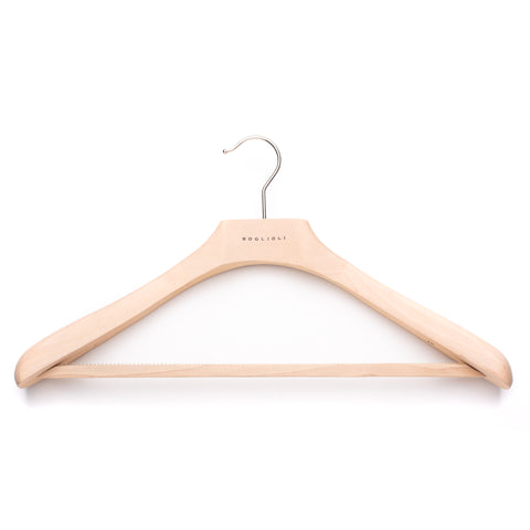 BOGLIOLI Natural Wood Suit Hanger with Bar Set of 5 Size XL