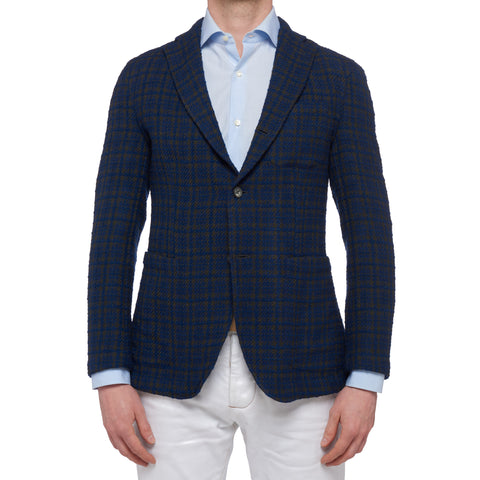 "BOGLIOLI ""68"" Blue Plaid Basket Weave Wool-Cotton Unconstructed Jacket 48 NEW 38"