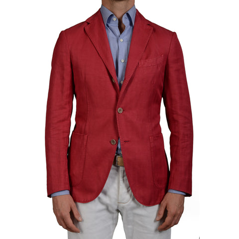 "BOGLIOLI ""Coat"" Coral Herringbone Cotton-Linen Unlined Blazer Jacket 48 NEW 38"