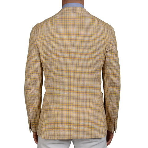 "BOGLIOLI ""Dover"" Yellow Plaid Cotton-Silk Seersucker Unlined Jacket 50 NEW US 40"