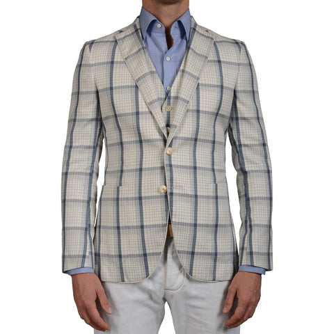 "BOGLIOLI ""Hampton"" 2 Piece White Plaid Cotton-Silk Jacket with Vest 48 NEW US 38"