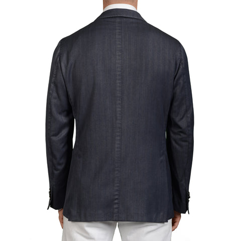"BOGLIOLI ""K.Jacket"" Anthracite Blue Herringbone Wool Unlined Jacket Sports Coat"