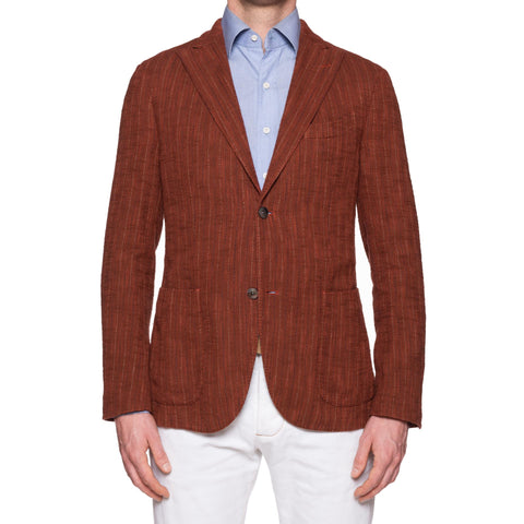 "BOGLIOLI ""K.Jacket"" Brick Red Tweed Cotton-Silk Unlined Peak Lapel Jacket 48 NEW 38"
