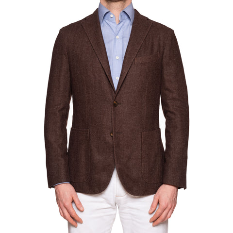 "BOGLIOLI ""K. Jacket"" Brown Hopsack Wool-Cashmere-Silk Unlined Jacket 50 NEW 40"