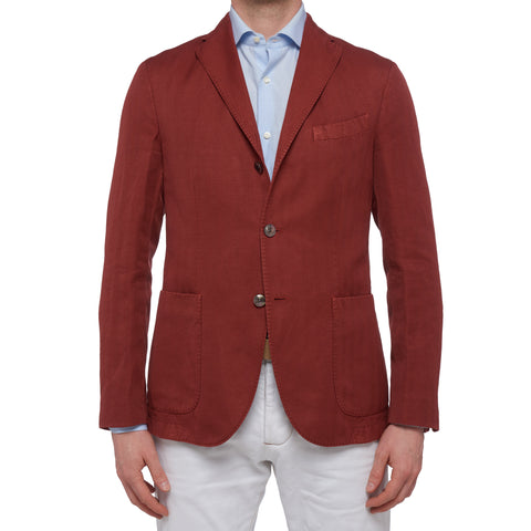 "BOGLIOLI ""K. Jacket"" Crimson Herringbone Cotton-Linen Unlined Jacket 48 NEW 38"