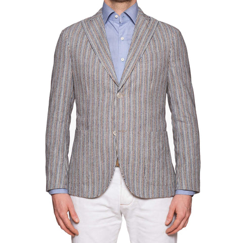 "BOGLIOLI ""K. Jacket"" Multi-Color Striped Wool-Cotton Peak Lapel Jacket 48 NEW 38"