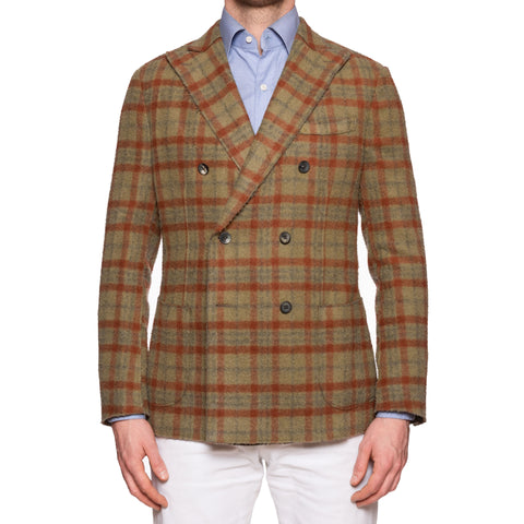"BOGLIOLI ""K. Jacket"" Olive Plaid Casentino Wool DB Unlined Jacket 50 NEW US 40"