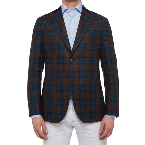 "BOGLIOLI ""K. Jacket"" Plaid Wool-Linen Unlined Peak Lapel Jacket EU 50 NEW US 40"